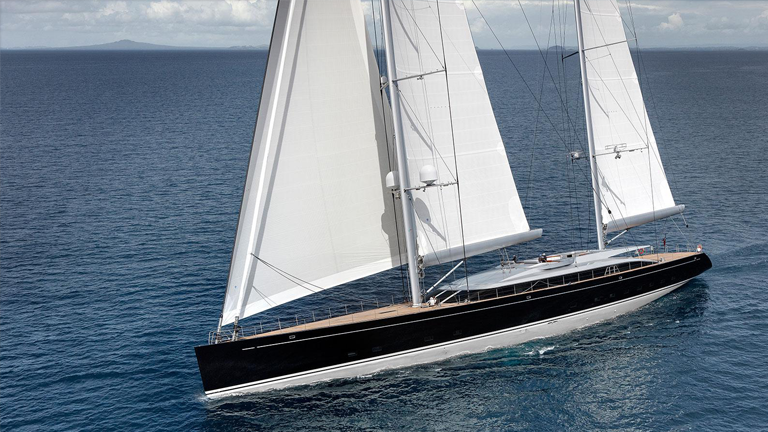 Large expensive looking sailing yacht from the air